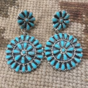 Navajo Turquoise Needlepoint Cluster Dangles